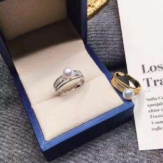 珍珠 戒指 耳環