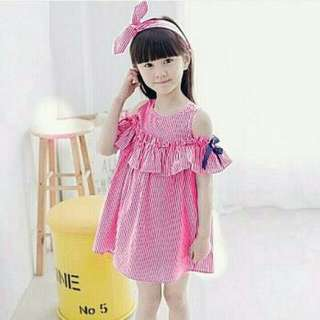 DRESS STRIPE SHOULDER KIDS MERAH 65000 bahan katun salur motif asli +bando  PJ-72, LD-72 fit 2-4thn
