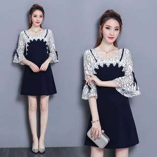 (L-5XK)Plus size women's 2018 spring Korean version loose lace stitching sleeve dress