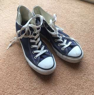 Converse Navy High Top sneakers MEN 4.5 WOMEN 6.5 sz 37
