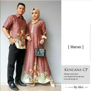 Vs CP KENCANA MARON l atasan baju Muslim gamis coklat baju couple kemeja pria