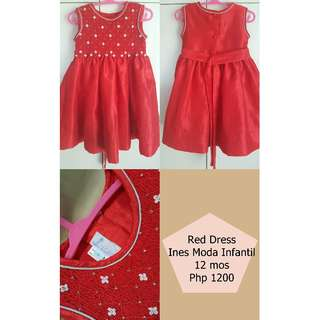 Ines Moda Infantil Red Party Dress