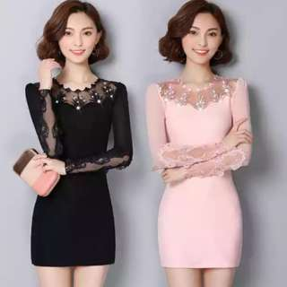 Fashion long sleeve Lace  Dress for Ladies