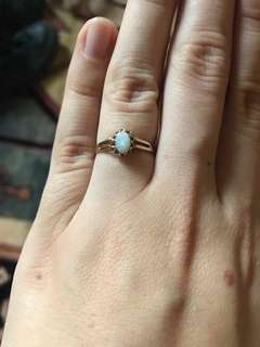 Solid gold & white opal ring