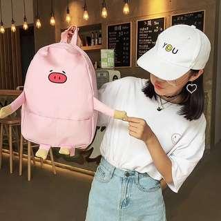 INSTOCK!! Pink Piggie Japanese Korean Ulzzang Super Cute Pig Canvas Backpack Bag