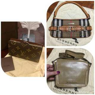 Bundle Sale! Authentic Burberry Small Bags and High end LV
