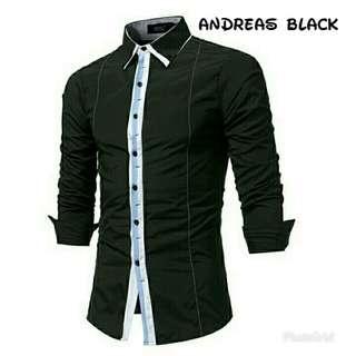 LVRP - MAN ANDREAS BLACK 79.000 Kemeja pria lengan panjang bahan catton stretch ld104 pb70 slim fit, berat 0.25kg