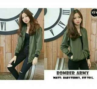 JAKET BOMBER BAHAN BABYTERY FIT TO L MOTIF ARMY POLOS