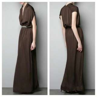 Zara grecian brown maxi dress