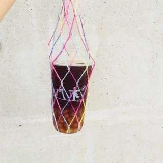麻繩飲料提袋/編織袋/環保袋/飲料袋/環保杯袋/網袋/魚網袋/麻繩/麻繩杯袋