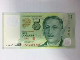 Singapore Portrait Series $5 Dollars Banknote GCT Polymer First Prefix Ending 1388