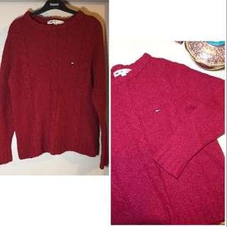 US Tommy Hilfiger red knitted pullover causal crewneck sweater Jacket Sport 美國 名牌  Tommy Hilfiger 紅色 針織 圓領 毛衣 冷衫 休閒 衛衣 新年 拜年 過年 Chinese lunar new year