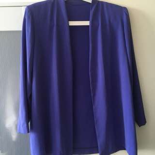 Purple violet blazer with padded shoulders