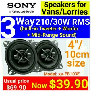 "Van Speakers  - Sony 3 Way 210Watts Speakers with Mid Range + Built-in dome tweeter + Super Tweeter (10cm/4"" size. ) Usual Price: $ 69.90. Special Price: $39.90 ( Brand New In Box  & Sealed) Model: FB-103E. whatsapp 85992490 for same day collection"