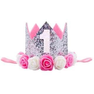 🦁Instock - 1st silver birthday crown, baby infant toddler girl children glad cute 123456789