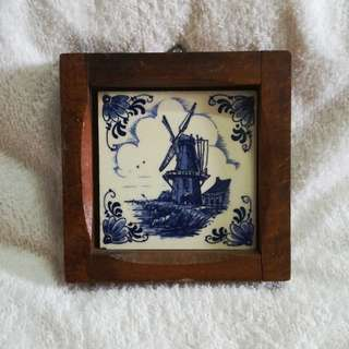 Vintage Delft Blue Hand Painted Holland Ceramic Tile Windmill in Wooden Frame