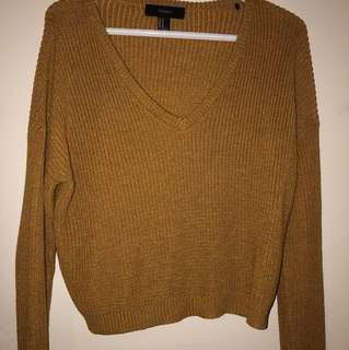 Mustard V Neck Knit Long Sleeve
