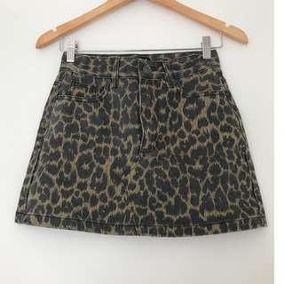 Glassons Leopard Print Skirt - Denim Fabric