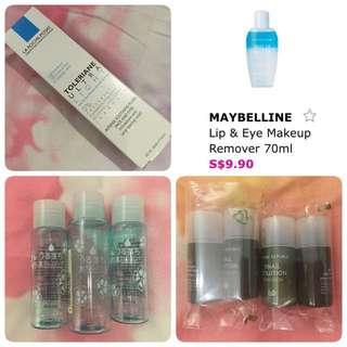 La Roche Posay Toleriane UltraLight 40ml / Maybelline Lip & Eye Makeup Remover / Bifesta Empty Containers / Nature Republic Snail Solution Emulsion / Skin Booster