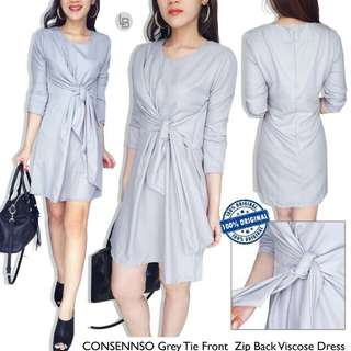 Consennso grey tie front zip back viscone dress