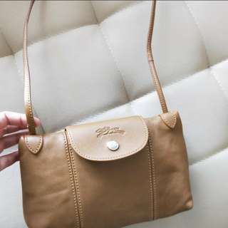 Longchamp cuir camel crossbody