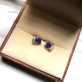 日本純銀紫水晶防敏感耳環 Brand New Japanese Sterling Silver Amethyst Sensitive Earrings