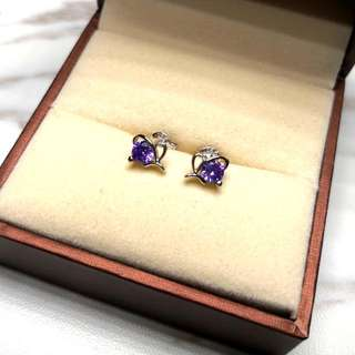 日本純銀紫水晶閃亮防敏感耳環 Brand New Japanese Sterling Silver Amethyst Sensitive Earrings
