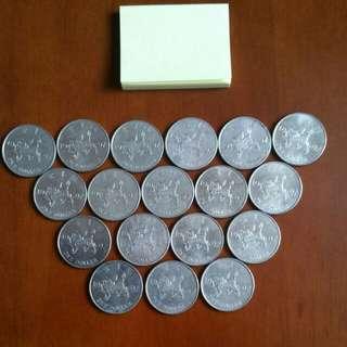 香港硬幣1997年回歸1元👍 限量出版 👍麒麟係:鎮財之寶共18個