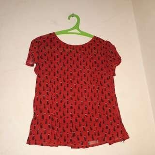 Blouse red cat