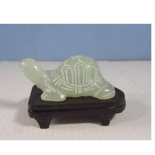 Vintage Serpentine Xiu Jade Hand Carved Tortoise On Wood Stand c.late 1900-s