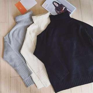 黑色秋冬韓版簡約純色百搭寬鬆高領套頭針織毛衣