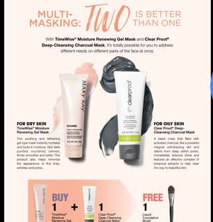 Mary kay timewise renewing gel mask + charcoal mask . FREE foundation brush