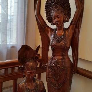 Life Size Teak Wood Balinese Dancers
