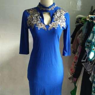 Dress biru bordir