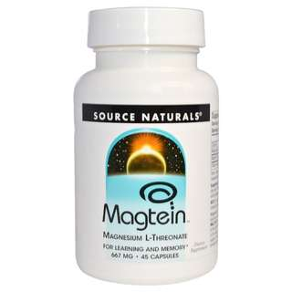 Source Naturals, Magtein, Magnesium L-Threonate, 667 mg, 45 Capsules