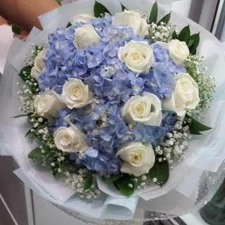 Wedding Anniversary Rose Bouquet Hydrangea Bouquet