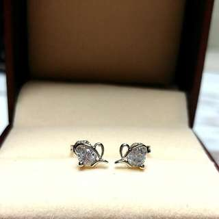 日本純銀水晶閃亮防敏感耳環 Brand New Japanese Silver Crystal Shiny Sensitive Earrings