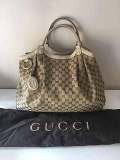 Authentic Gucci large Sukey tote GG monogram canvas