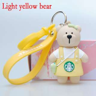 Starbucks Bear Keychain Cute Cartoon Doll Key Chain Strawberry Bear Doll Lovers Key Ring Bag