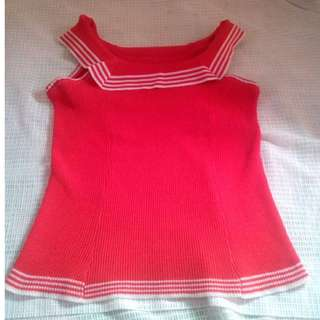 Red Sleeve Blouse (Ribbed type)