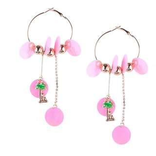 Summer pink hoops earings