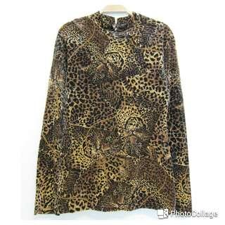 🚚 豹紋立領絨長袖上衣