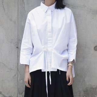 韓國款純白束腰娃娃款九分袖恤衫