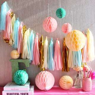 27Pc Set Paper Honeycomb Ball Tassel Party Decor Set - Pink Blue Green Yellow Gold