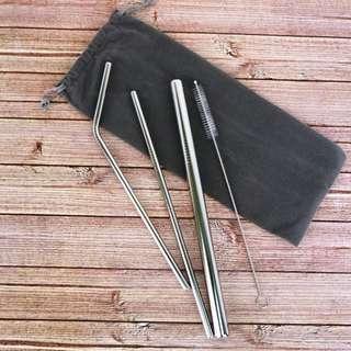 不鏽鋼吸管 四件套組 附套子