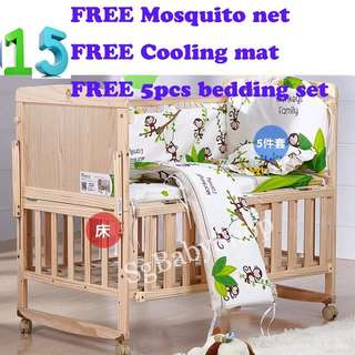 Brand New wooden baby cot/bed/Free bedding set/Free mosquito net/Free cooling mat/special offer/limited quantity