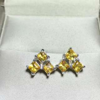 Natural Yellow Sapphire Gem Triangle Earrings