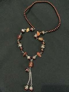 Kalung mutiara / batu coklat wanita