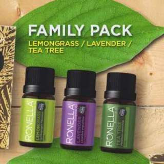 Ronella Family Pack Essential Oils Aromatherapy (Tea tree, Lavender, Lemongrass)