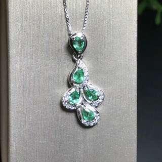 Natural Green Emerald Gem Unique Pendant